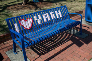 yarn bombed bench