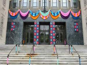 Philadelphia Museum of Art yarn bombing