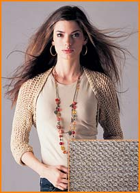 model wearing Gold Lame Openwork Shrug