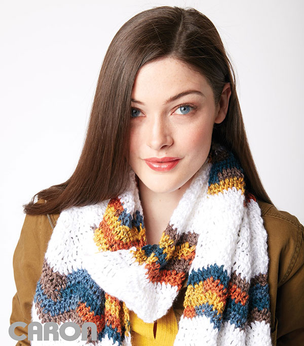 Chevron stripes crochet scarf